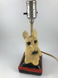 VINTAGE 1940'S ERA CHALKWARE SCOTTISH TERRIER ELECTRIC LAMP
