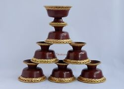 Oxidized Copper Alloy Gold Gilded Finely Carved Tibetan 3 Offering Bowls Set
