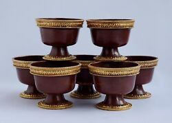 Gold Gilded Finely Carved Oxidized Copper Alloy Tibetan 3 Offering Bowls Set