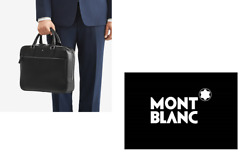 NEW MONTBLANC MONT BLANC DESIGNER BLACK LEATHER SHOULDER SARTORIAL BRIEFCASE BAG $1,118.77