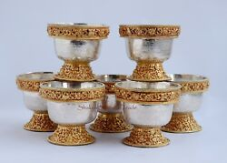 Gold Gilded Finely Carved Silver And Copper Alloy Tibetan 3 Offering Bowls Set