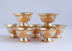 Copper Alloy Gold And Silver Plated Finely Carved Tibetan 2.5 Offering Bowls Set