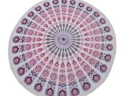 Pink Peacock Fan Round Tablecloth Cotton Print Fringed Table Overlay Topper 70
