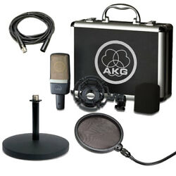 AKG C214 Condenser Mic and Shockmount w Desktop Stand Pop Filter and XLR Cable