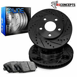 For 2008-2011 Volvo S80 Front eLine Black Drill Slot Brake Rotors+Semi-Met Pads