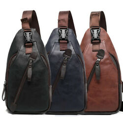 Men#x27;s Leather Sling Pack Chest Shoulder Crossbody Bag Backpack Biker Satchel $14.99