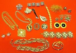 Vintage Jewelry Lot Necklaces Brooches Earrings Bracelets Pins Button Covers