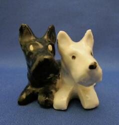 Vintage Black & White Scottish Terriers Porcelain Figurine