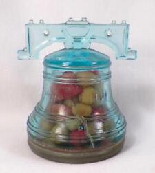 Liberty Bell Candy Container Blue Pattern Glass Eapg Tin Lid Antique