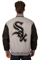 Mlb Chicago White Sox Jh Design Poly Twill Jacket Bnwt Sox P03 Bsc7 Gry-blk
