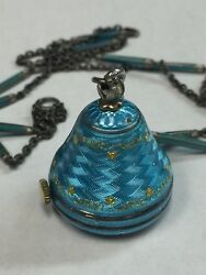 Art Deco Retro Sterling Silver And Bright Blue Guilloché Enamel Bell Watch