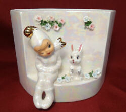 Lefton Angel In Snowsuit W/easter Bunny And Flowers Irridized Figurine Planter