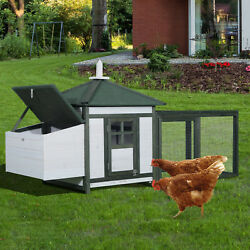 PawHut Chicken Coop Small Animal Habitat Large Backyard with Nestbox