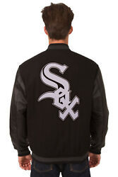 Mlb Chicago White Sox Jh Design Reversible Leather Wool Twill Jacket Bnwt Rev27
