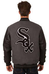 Mlb Chicago White Sox Jh Design Reversible Leather Wool Twill Jacket 203 Rev7