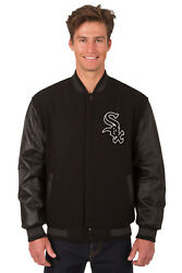 Mlb Chicago White Sox Jh Design Wool Twill Reversible Leather Jacket 203 Ref7