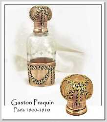 Gaston Praquin Glorious Huge Antique French Perfume Sterling Gold And Crystal