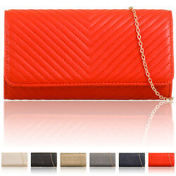 Monogramme Chevron Quilted Women Clutch Vintage Leatherette Ladies Evening Bags