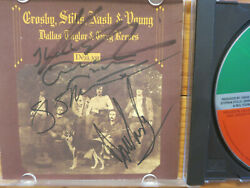 Crosby Stills Nash And Young Signed Cd Cover By 4 Acoa + Proof Neil Young Csny Lp