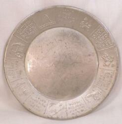 Child's Nursery Rhyme Plate Aluminum Viintage Adorable Cow Jumped Over The Moon