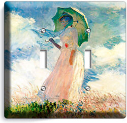 Claude Monet Woman With A Parasol Painting Double Light Switch Plates Room Decor