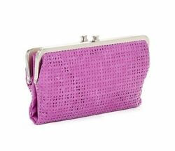 HOBO International LAUREN Perforated Leather Clutch Bifold Wallet PANSY Pink NWT