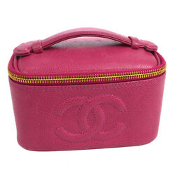 Auth CHANEL CC Cosmetic Hand Bag Pouch Pink Caviar Skin Leather Vintage 910801