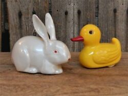 2 Rare Vintage Toy Easter Rabbit And Duck Rolling Western Germany Kohler 1950's
