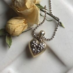 18k Yellow White Gold Heart Flowers Pendant Edelweiss Blossoms Floral Necklace