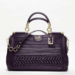 Coach.GD  AUBERGINE MADISON PLEATED GATHERED LEATHER CAROLINE BAG BRAND NEW !!!