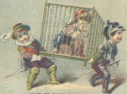 Ny Max Stadler And Co, Trade Card, 2 Clothing Stores, Poor Lady In A Cage C917