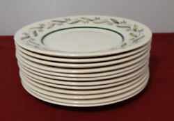 Royal Doulton Almond Willow Spring Leaves 6 1/2 Bread Bandb Plates Lot Of 12