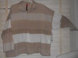 Nwt Blanqueart To Wearboxy Crinkle Pleat Khaki/wh Banded Tunic Shirt Jacket 0