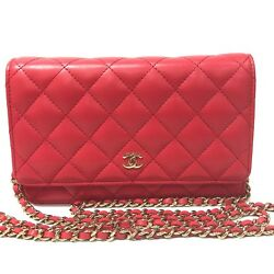 NWT CHANEL 18C IRIDESCENT LIGHT RED WOC O-MINI CLUTCH BAG WALLET ON CHAIN 2018