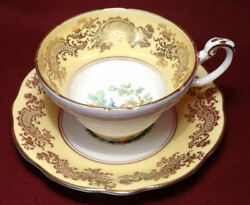 Eb Foley V2866 Bird Of Paradise Roses Tea/coffee Cup And Saucer W/yellow And Gold