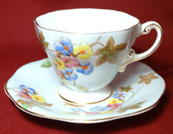 Eb Foley Hand Painted Flowers Pale Pastel Blue Coffee Tea Cup And Saucer