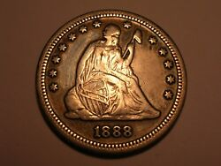 1888 S Seated Liberty Quarter Abt. Xf And Attractive