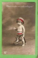 L23. German Imperial Wwi Postcard Boy In Uniform And Toy Horse 1916