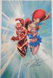 Signed The Flash And Supergirl By Norm Rapmund Litho Print Poster