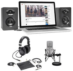 Samson G-Track Studio Podcast USB Microphone+Interface+Z55 Headphones+Monitors