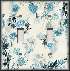 Metal Light Switch Plate Cover - Asian Floral Home Decor Blue Grey Floral