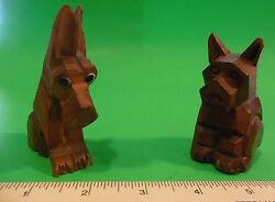 2 Vintage Brown Wood Hand Carved Scottish Terrier Scottie Dog Figurines