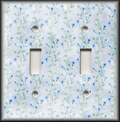 Metal Light Switch Plate Cover - Blue Floral Vines Decor Floral Switchplates