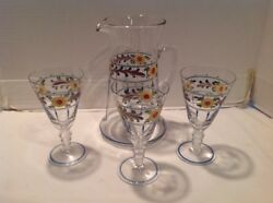 Antique Hawkes Crystal Hand-painted Enameled Pitcher Goblet Set Flowers Rare