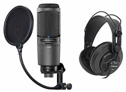 Audio Technica AT2020USBi USB Recording Podcast Microphone+Pop Filter+Headphones