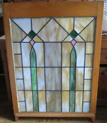 Antique C1880 Stately Window Stain Slag Glass 45x 32.25 Architectural Salvage