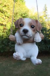 JACK RUSSELL TERRIER DOG ON A SWING RESIN PET ORNAMENT BLACK WHITE NEW
