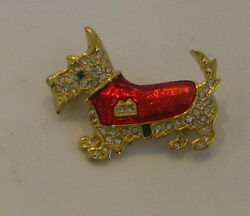 Scottish Terrier Pin RS's and Red Enameled Coat Fancy
