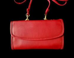 NWT Coach Vintage Red Leather Envelope Swing Clutch Crossbody Bag Purse Wallet