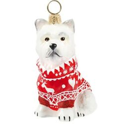 West Highland Terrier Westie in Nordic Sweater Polish Glass Christmas Ornament